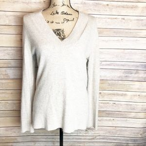 SARAH SPENCER Cream V-Neck Sweater, size M